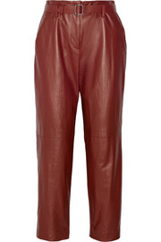 Adam Lippes Cropped leather straight-leg pants