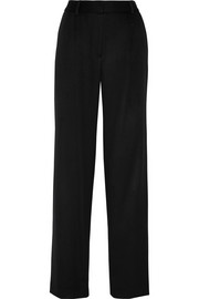Wool and cashmere-blend wide-leg pants