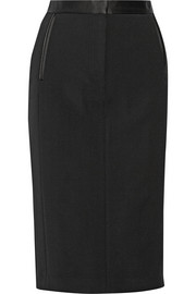 Silk satin-trimmed wool-blend pencil skirt