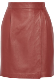 Adam Lippes Wrap-effect leather mini skirt