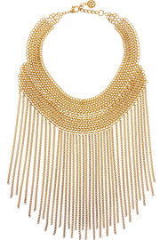 Gold-plated chain bib necklace
