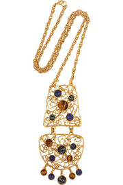 Gold-plated cabochon necklace