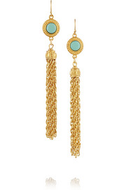 Gold-plated cabochon earrings
