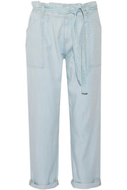 Newsboy chambray straight-leg pants