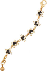 Terraced gold-plated, howlite and crystal bracelet