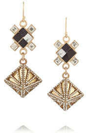 Terraced gold-plated, howlite and crystal earrings