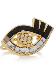 Lumen gold-plated multi-stone two-finger ring