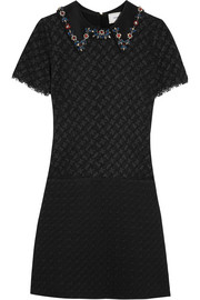 Paula crystal-embellished corded lace and cloqué mini dress