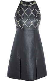 Crystal-embellished leather and wool-crepe mini dress