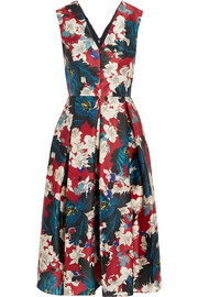 Loren printed silk-gazar dress