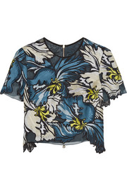 Emiko embroidered silk-organza top