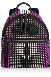 Karlito leather-trimmed studded canvas backpack