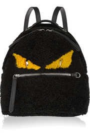 Monster mini leather-trimmed shearling backpack