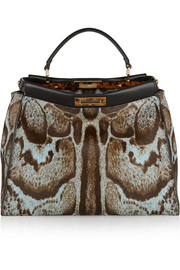 Fendi Peekaboo large printed calf hair tote