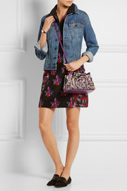 Peekaboo mini embellished satin and leather shoulder bag