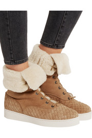 Shearling-lined intrecciato suede sneakers
