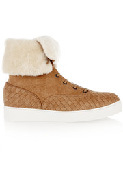 Bottega Veneta Shearling-lined intrecciato suede sneakers