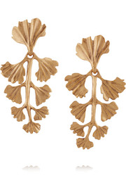 Fern gold-plated clip earrings