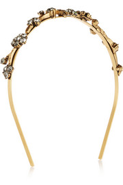 Oscar de la Renta Gold-plated crystal headband