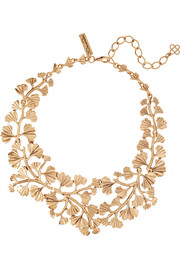 Fern gold-plated necklace