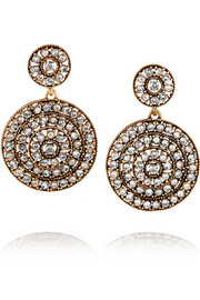 Disk gold-plated crystal clip earrings