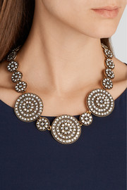Disk gold-plated crystal necklace