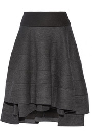 Tiered wool-blend skirt