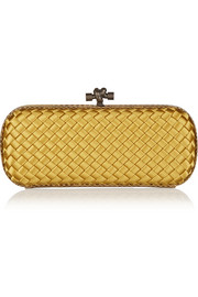 Bottega Veneta The Knot watersnake-trimmed intrecciato satin clutch