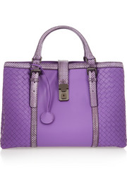 Roma large watersnake-trimmed leather tote