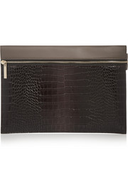 Two-tone croc-effect leather clutch