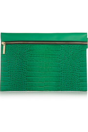 Croc-effect leather clutch