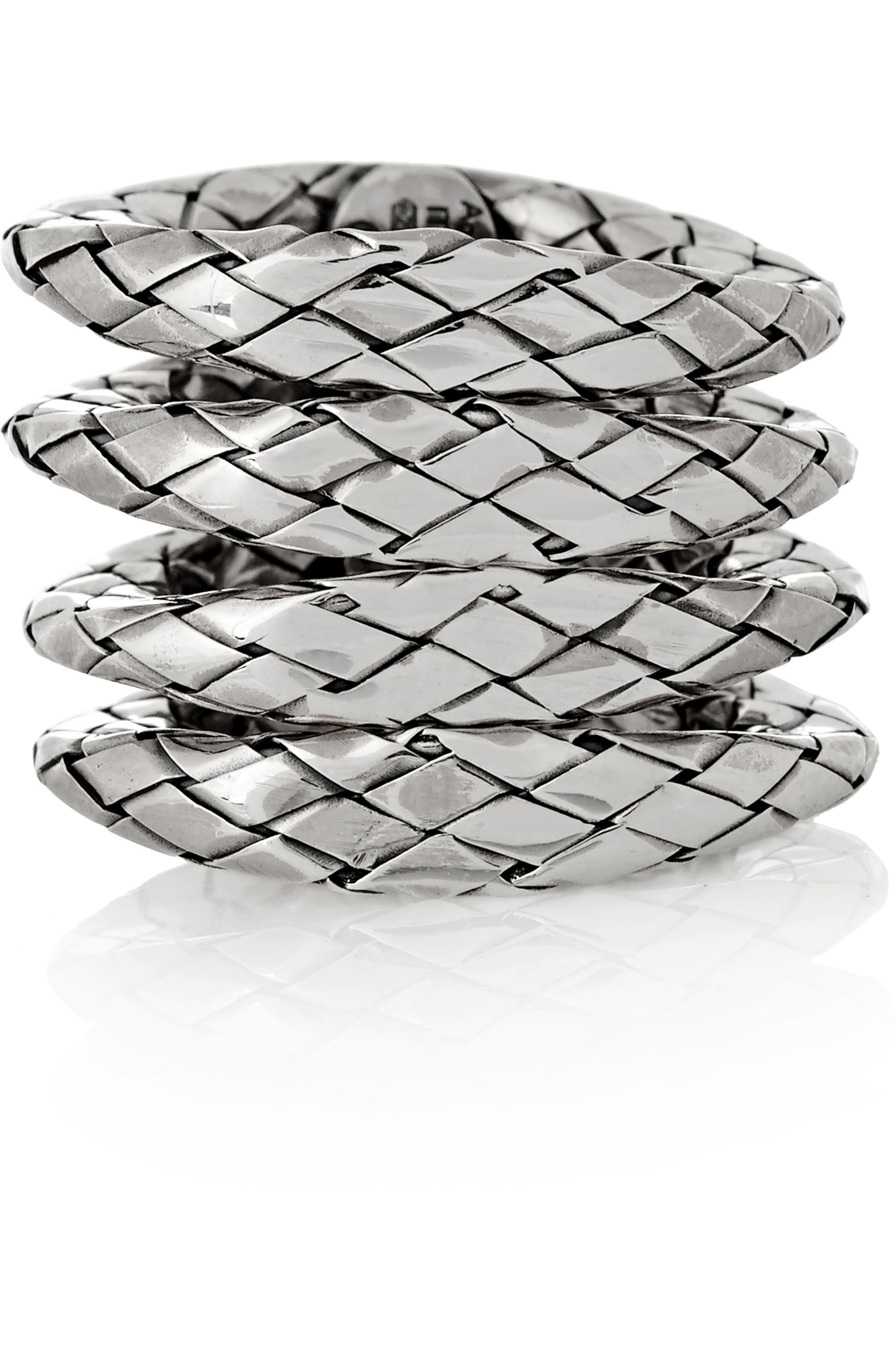 Bottega Veneta Set of four oxidized sterling silver rings