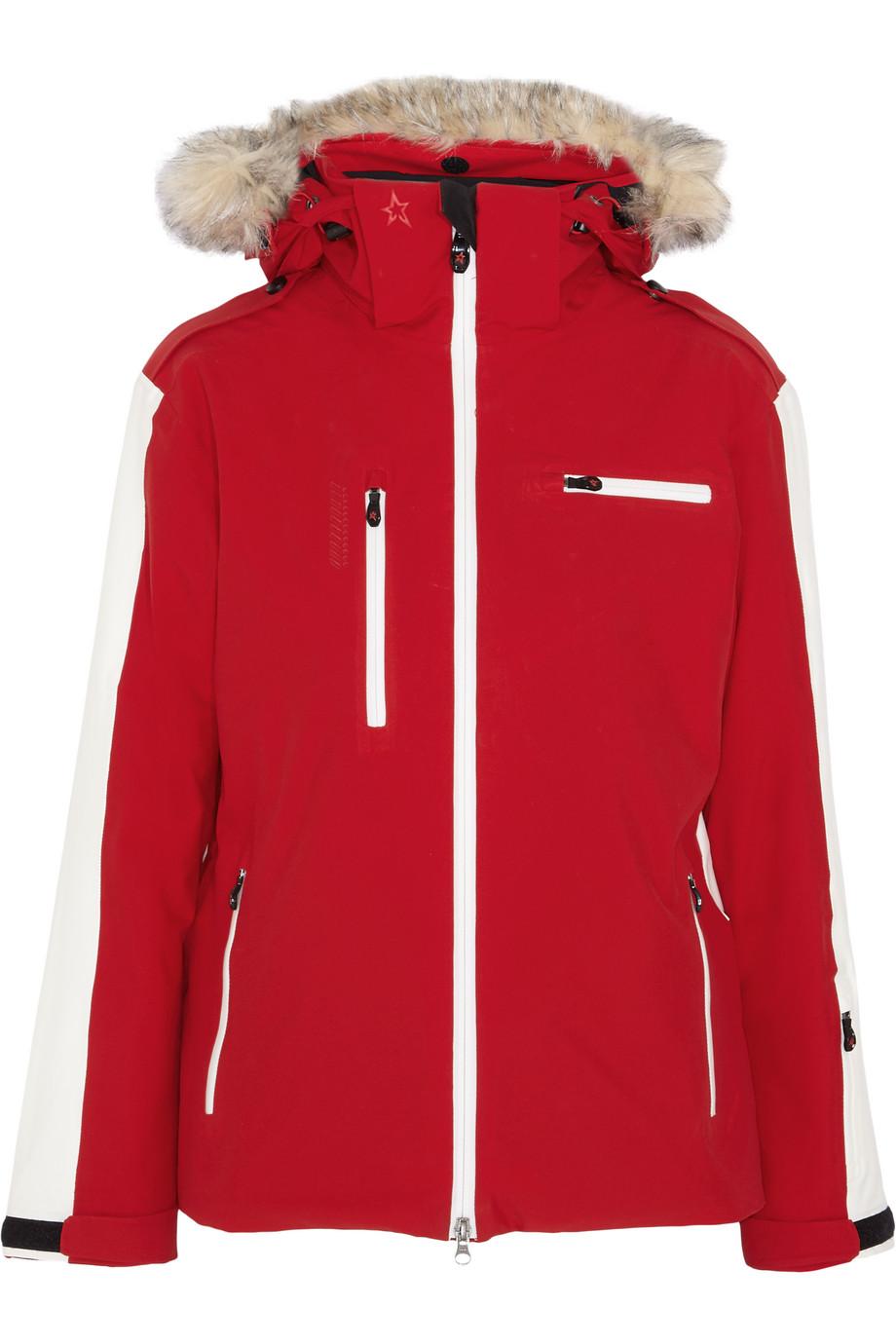 Perfect Moment Qanuk Pro Faux Fur-Trimmed Shell Ski Jacket, Red, Women's