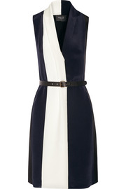 Color-block silk-georgette dress