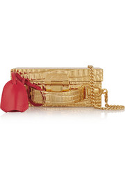 Grace mini leather-trimmed gold-plated shoulder bag