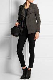 Blister washed-leather biker jacket