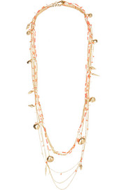 La Sabbia gold-tone, agate and quartz necklace