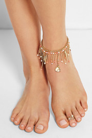Profondo set of two gold-tone pearl toe rings