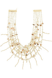 Sardegna gold-tone, mother-of-pearl and shell necklace