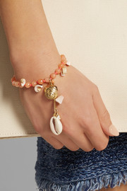 Mare quartz, shell and gold-tone bracelet
