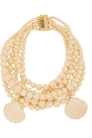 Spiaggia bone, resin and gold-tone necklace