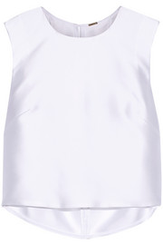Adam Lippes Cropped pleated satin-twill top