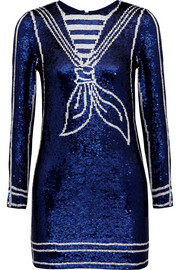 Sequined silk-georgette mini dress