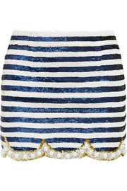 Embellished silk-georgette mini skirt