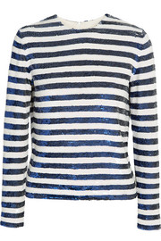 Sequined striped silk-georgette top