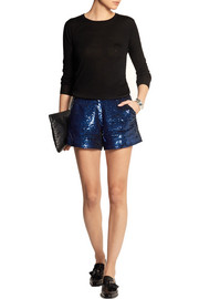 Sequined cotton shorts