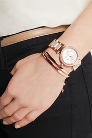 Michael Kors Parker crystal-embellished rose gold-tone watch