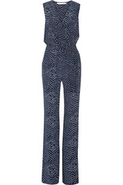 Eva wrap-effect printed silk jumpsuit