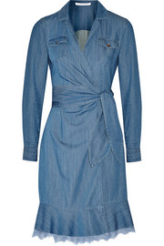 Diane von Furstenberg Aya lace-trimmed denim wrap dress