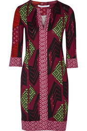 Rose printed silk-jersey dress